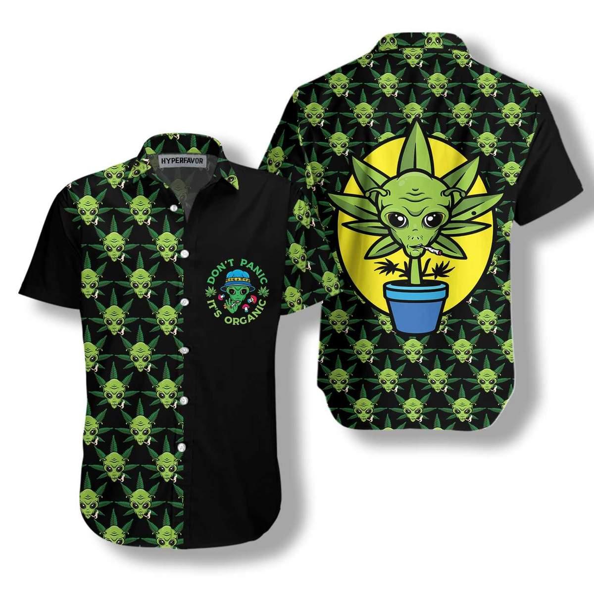Alien Organic Marijuana Hawaiian Shirt