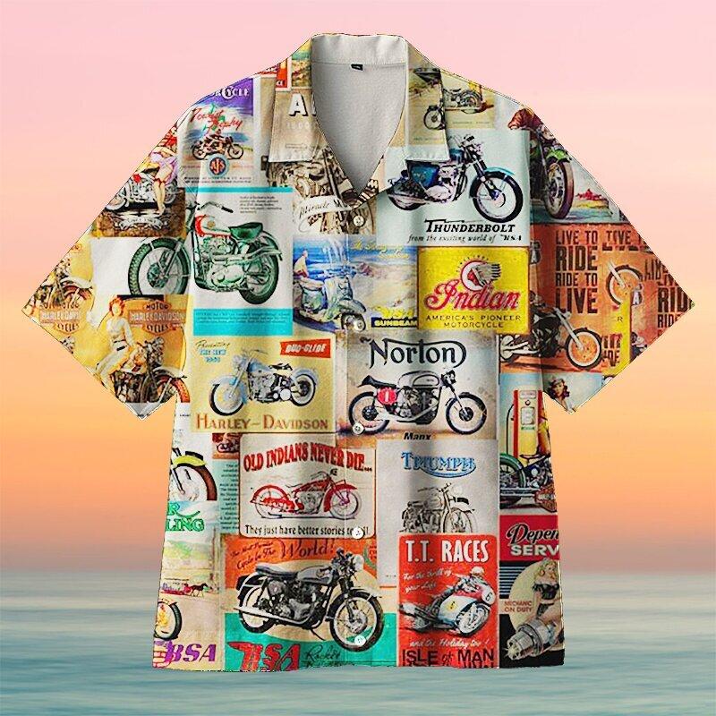 Amazing Vintage Retro Motorcycle Wall Logo Unisex Hawaiian Shirt