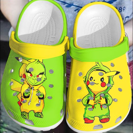 Baby Grinch and Pikachu crocs clog crocband