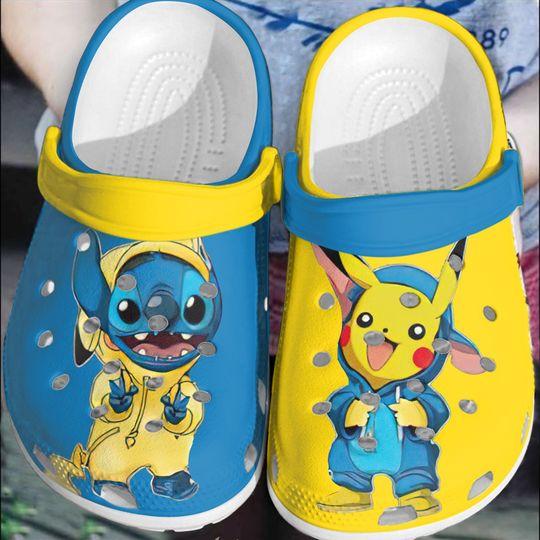 Baby Stitch and Pikachu crocs clog crocband