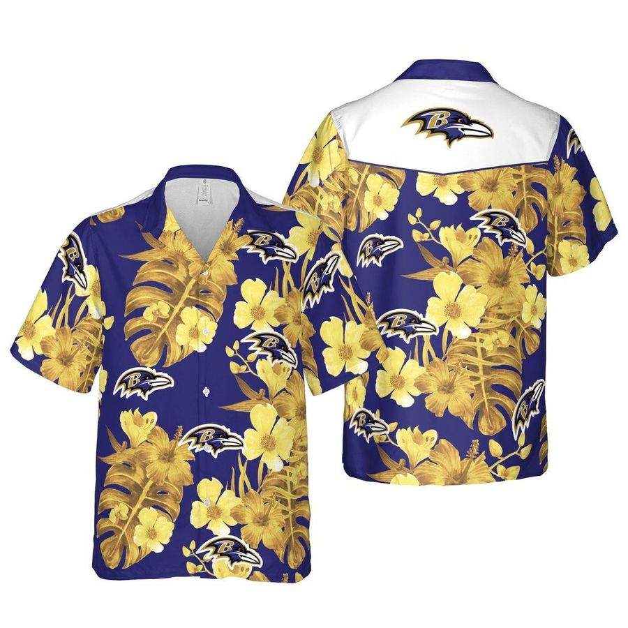 Baltimore ravens floral nfl football hawaiian shirt