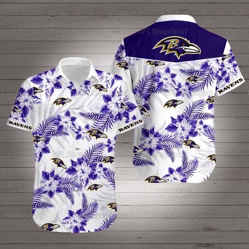 Baltimore ravens hibiscus nfl football hawaiian shirt