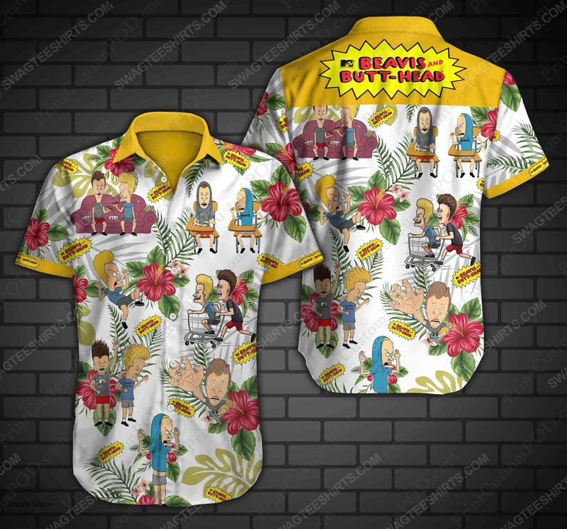 Beavis and butt head comedy cartoon summer vacation hawaiian shirt 1
