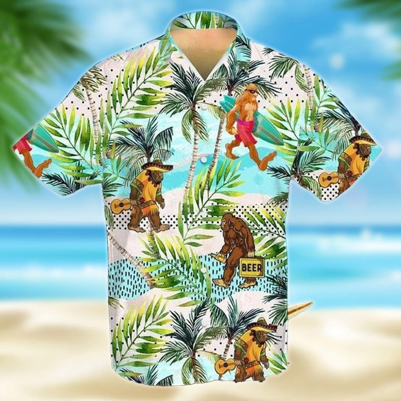 Bigfoot skiing guitar beer hawaiian shirt