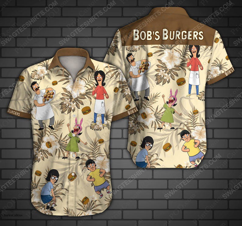 Bob burger cartoon belcher family summer vacation hawaiian shirt 1