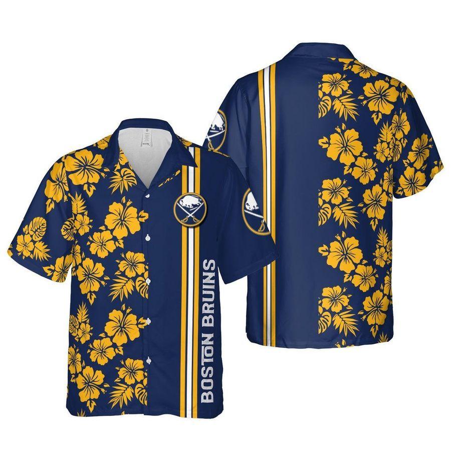 Boston bruins floral ice hockey hawaiian shirt