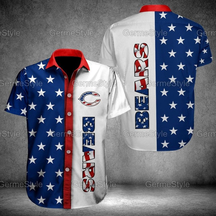 Chicago bears american flag nfl football hawaiian shirt