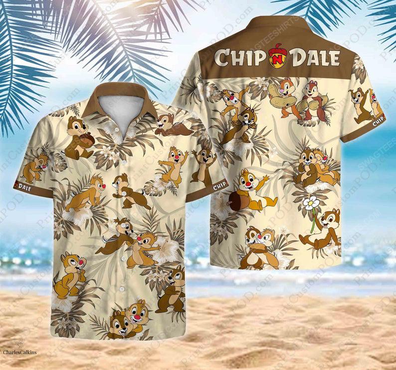 Chip and dale disney cartoon summer vacation hawaiian shirt 1