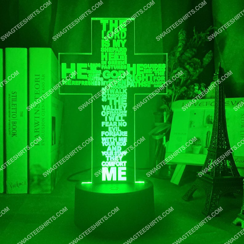 Christian Jesus Cross the Lord is my shepherd 3d night light led 21
