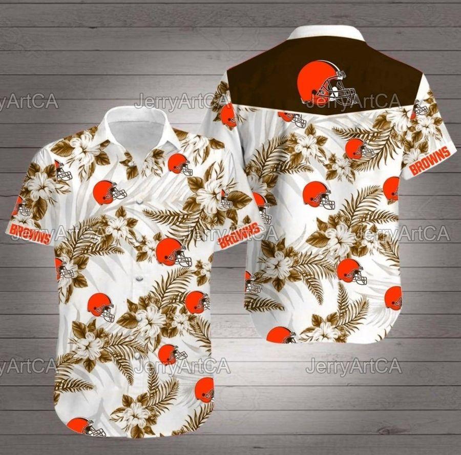 Cleveland browns floral nfl football hawaiian shirt summer casual short sleeve