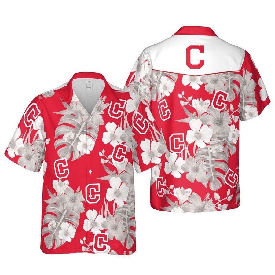 Cleveland indians floral mlb baseball hawaiian shirt