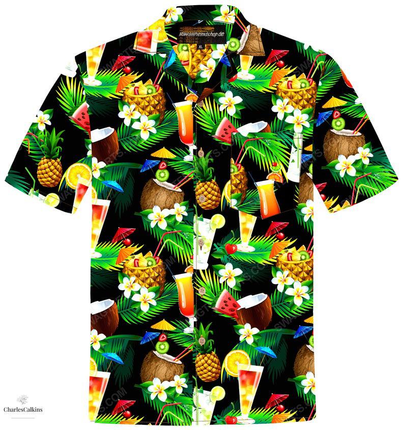 Cocktails palm coconut tropical fruits summer vacation hawaiian shirt 1
