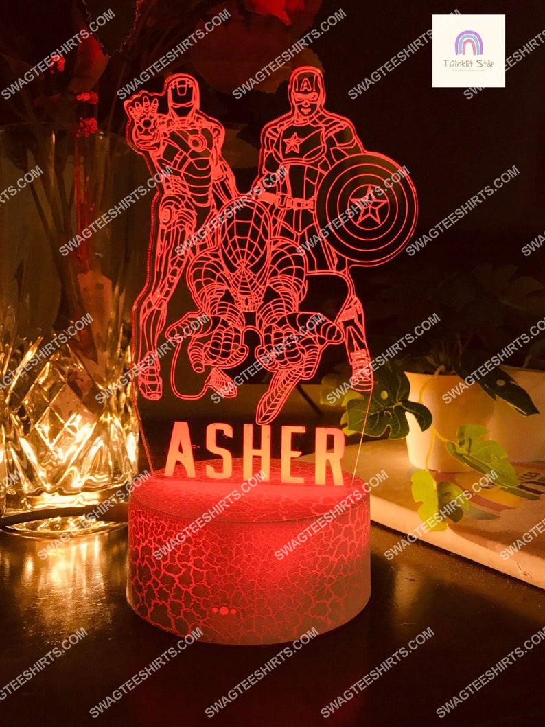 Custom name the avengers marvel comic 3d night light led 21