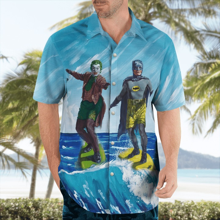 DC Comics Batman And Joker Surfing Hawaiian Shirt And Short