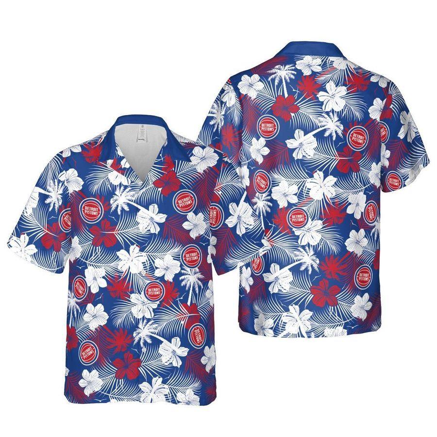 Detroit pistons floral nba basketball hawaiian shirt