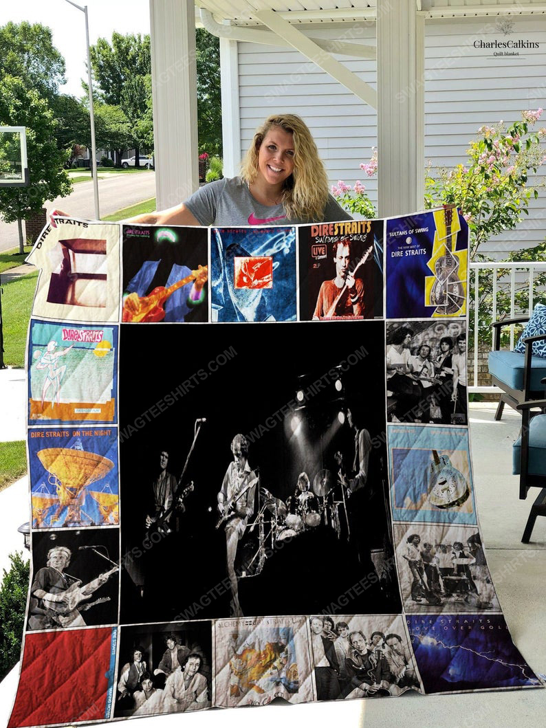 Dire straits albums cover rock band all over print quilt 1