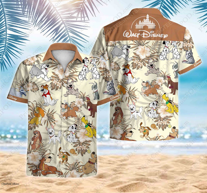 Disney cartoon movie dalmatians lady the tramp hawaiian shirt 1