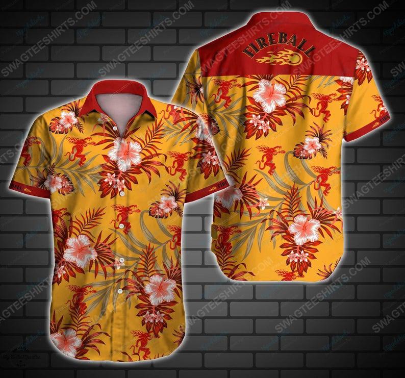 Fireball cinnamon whisky summer party hawaiian shirt 1