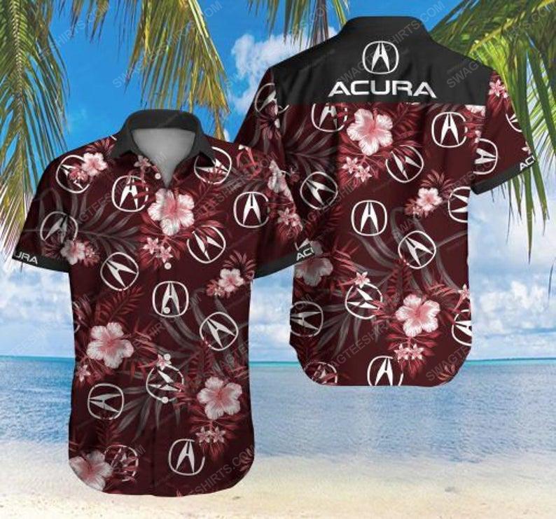 Floral acura car summer vacation hawaiian shirt 1