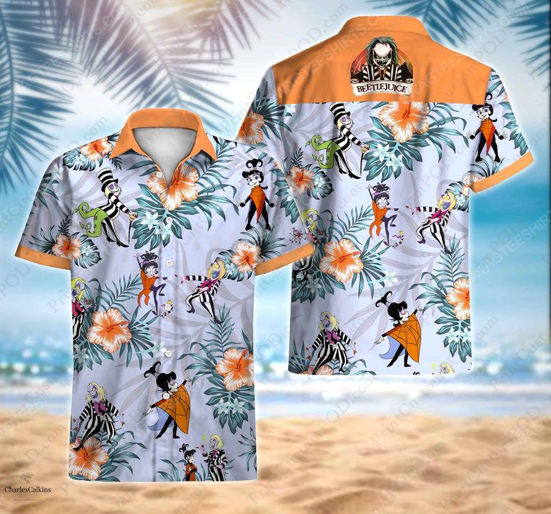 Floral beetlejuice lydia adventure cartoon movie hawaiian shirt 1