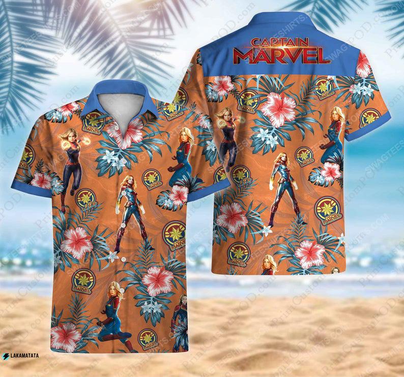 Floral captain america avengers disney marvel movie hawaiian shirt 1