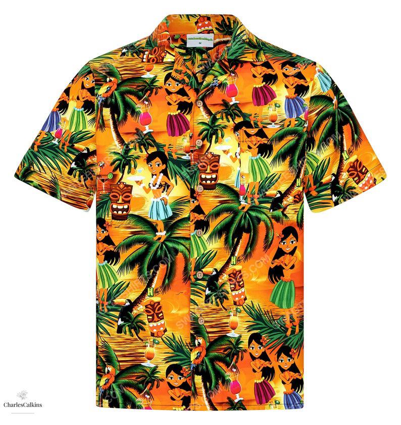 Floral drunken aloha girls hula dance hawaiian shirt 1