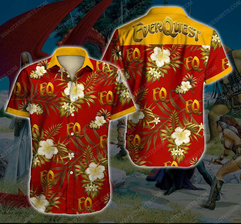 Floral everquest game gaming summer vacation hawaiian shirt 1