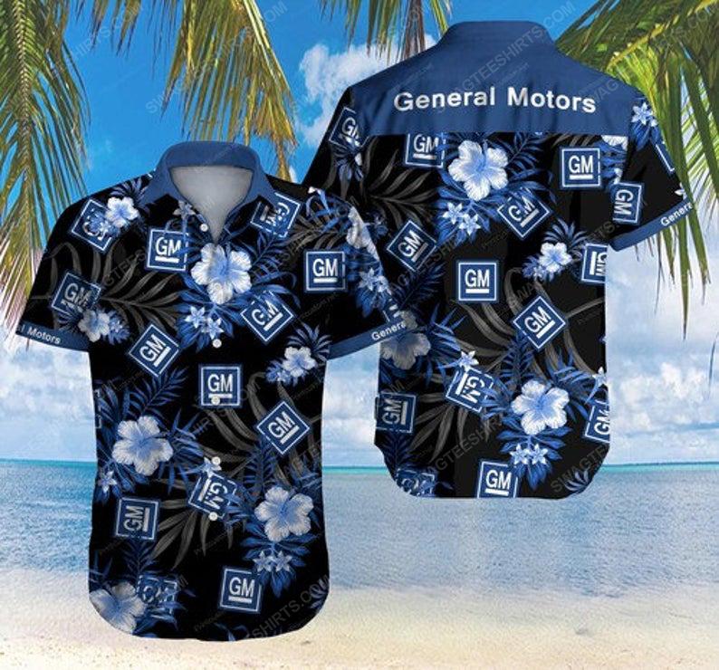 Floral general motors summer vacation hawaiian shirt 1