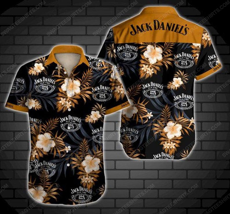 Floral jack daniels old time summer vacation hawaiian shirt 1