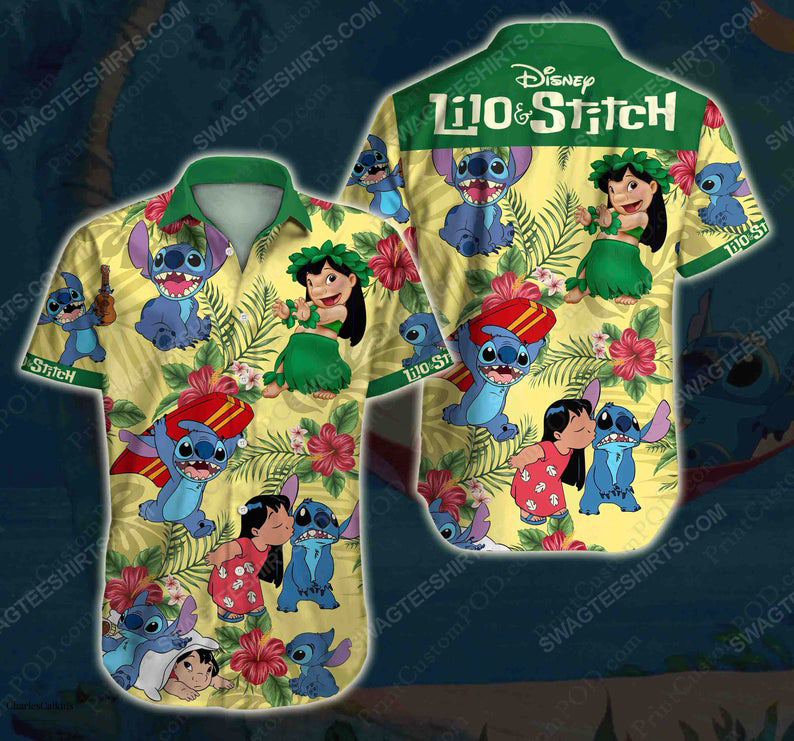 Floral lilo and stitch disney cartoon hawaiian shirt 1