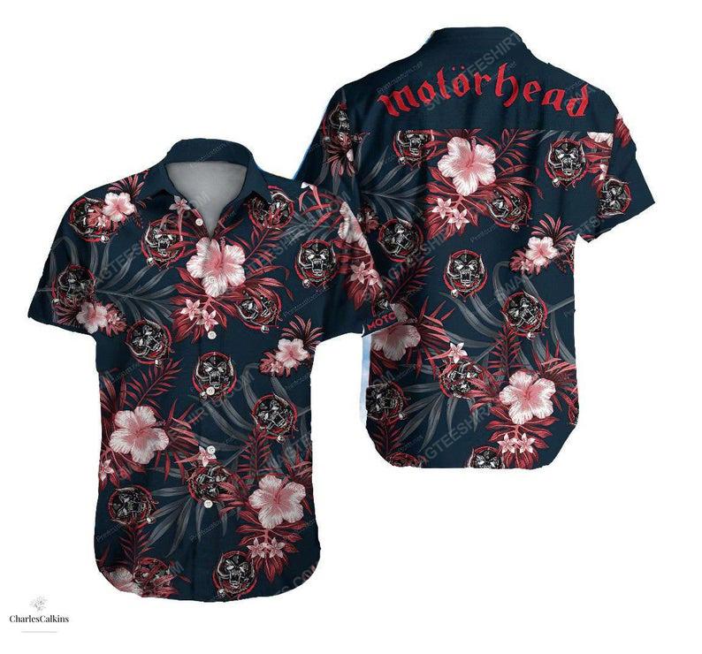 Floral motorhead rock band summer vacation hawaiian shirt 1
