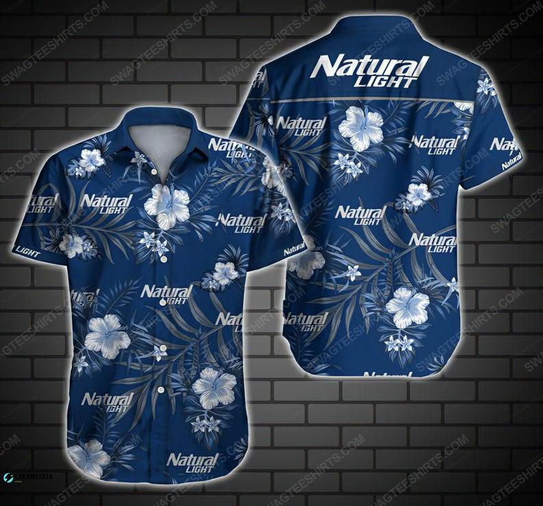 Floral natural light beer summer vacation hawaiian shirt 1
