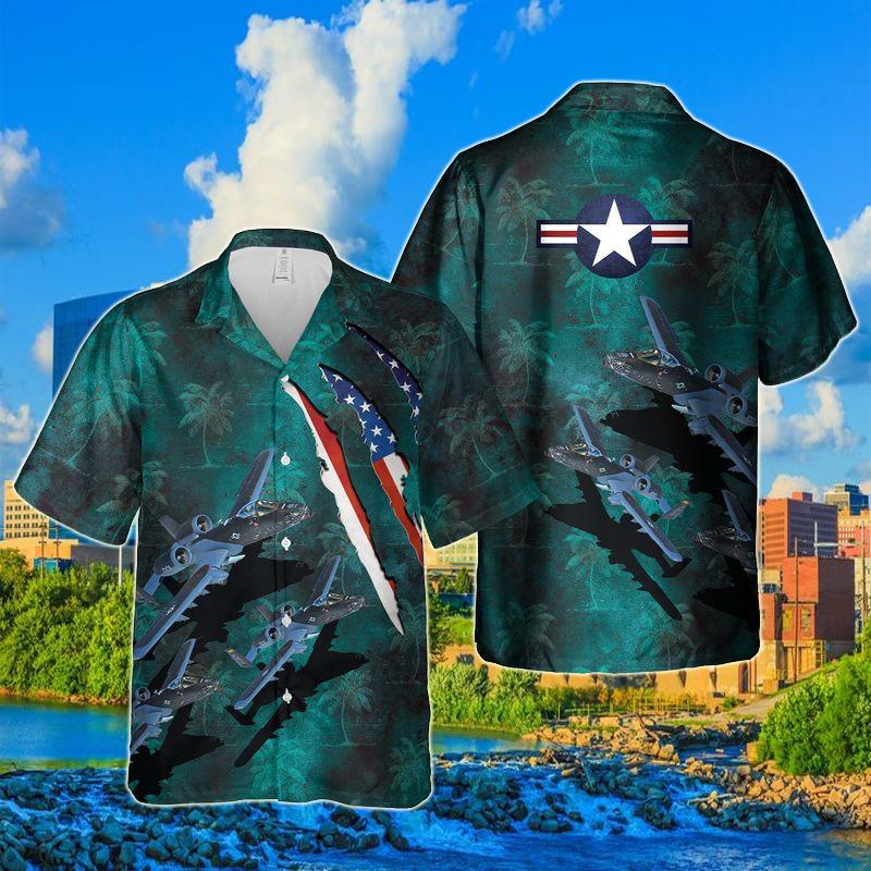 Indiana National Guard 122nd Fighter Wing A-10 Thunderbolt II 100 Years Hawaiian Shirt