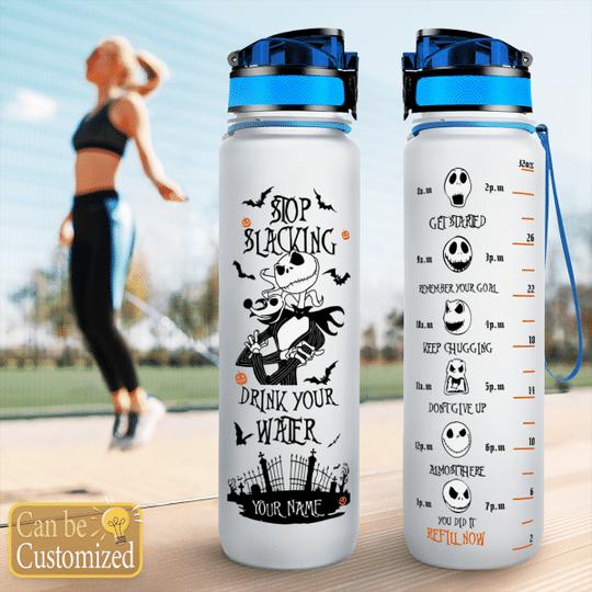 Jack Skellington Stop slacking drink your water custom name tracker bottle