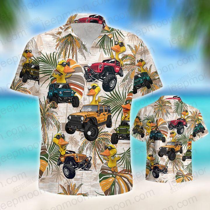 Jeep colorful leaves duck hawaiian shirt