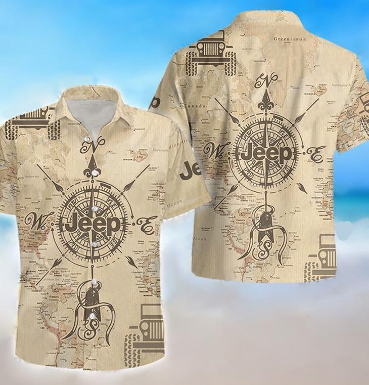 Jeep map compass hawaiian shirt
