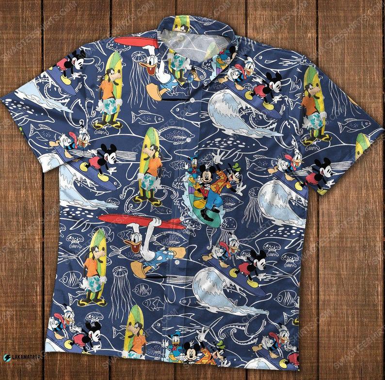 Mickey and friends donald surfing disney cartoon movie hawaiian shirt 1