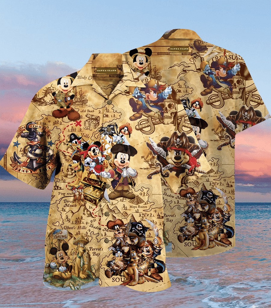 Mickey mouse Pirates hawaiian shirt leesilk