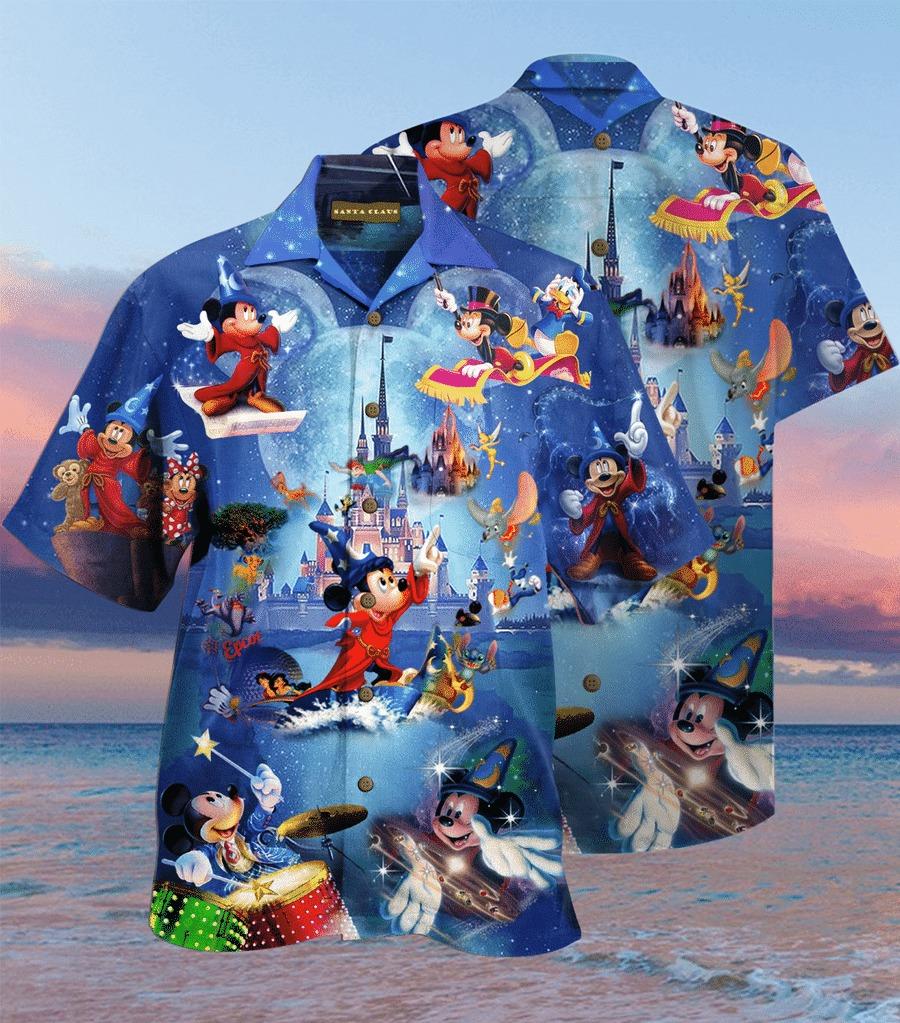 Mickey mouse magician hawaiian shirt