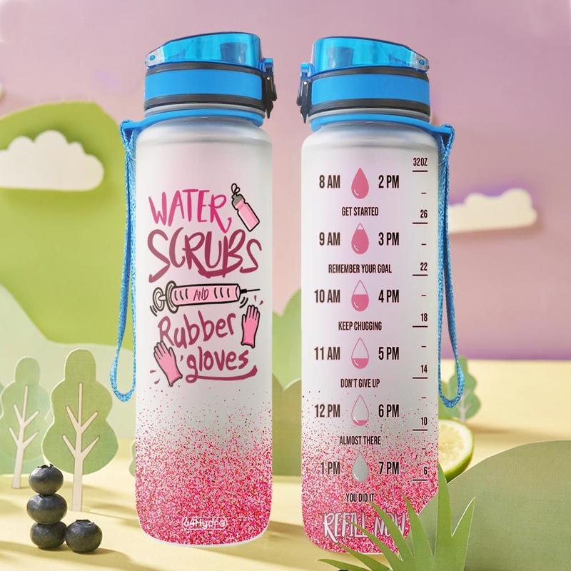 Nurse water scrubs rubber gloves water bottle