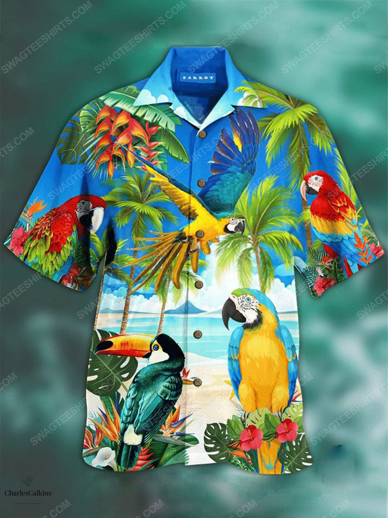 Parrot rio island animal bird lover summer vacation hawaiian shirt 1