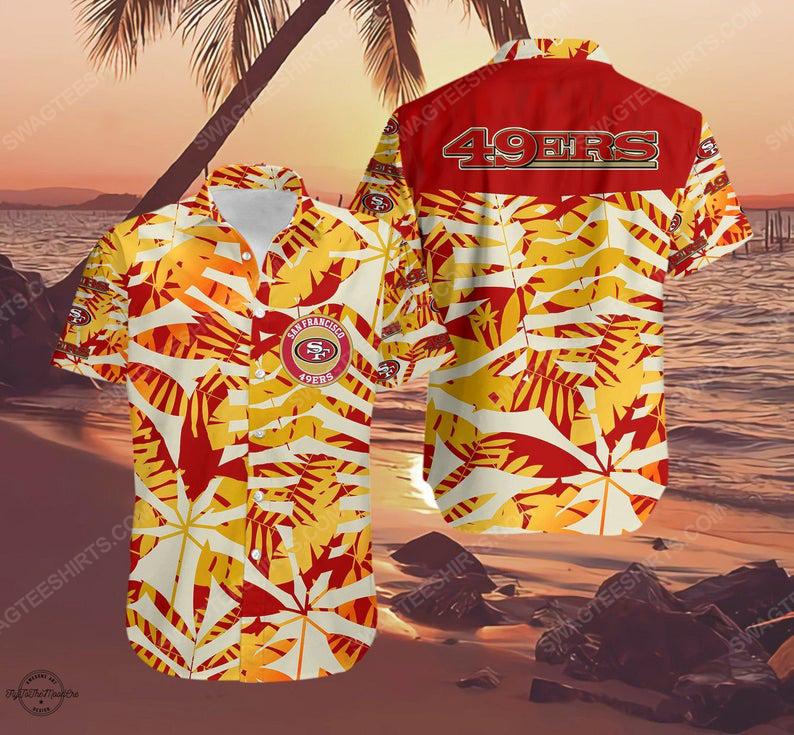 San francisco 49ers logo football summer vacation hawaiian shirt 1