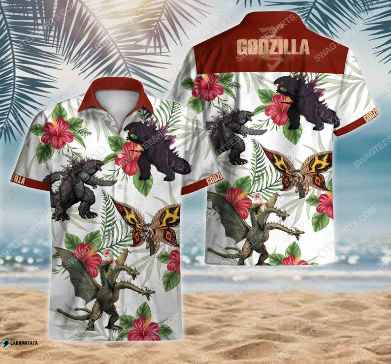 Tropical godzilla vs kong movie cartoon disney hawaiian shirt 1