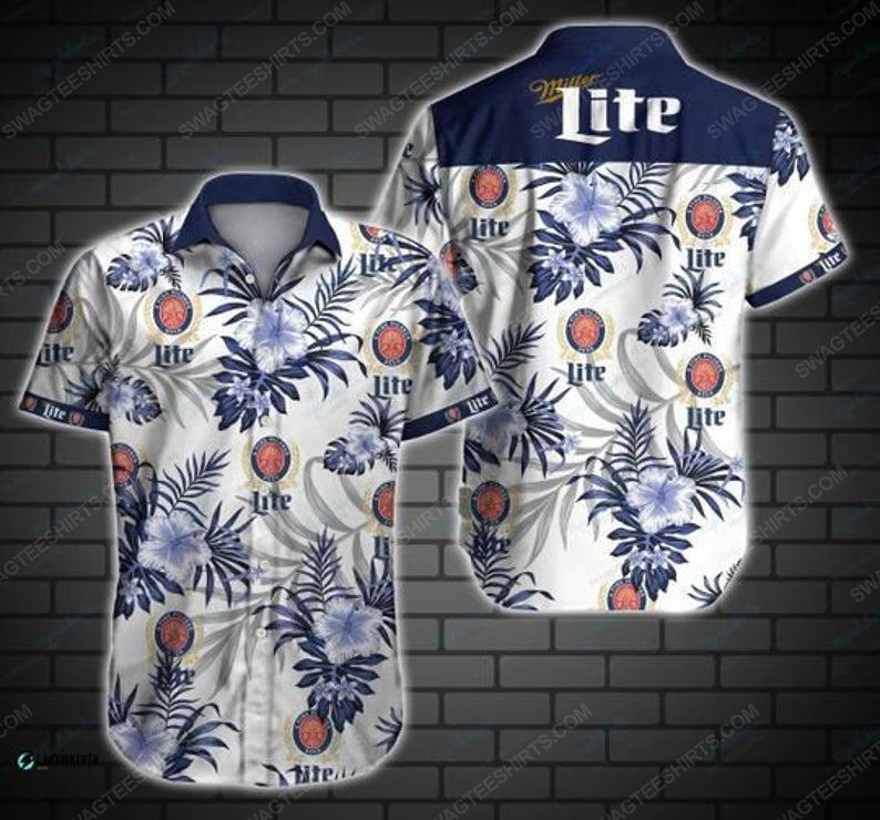 Tropical miller lite beer summer party hawaiian shirt 1
