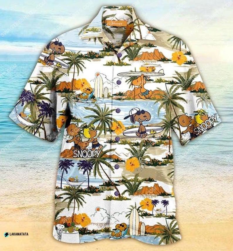 Tropical snoopy and friends summer vibe hawaiian shirt 1