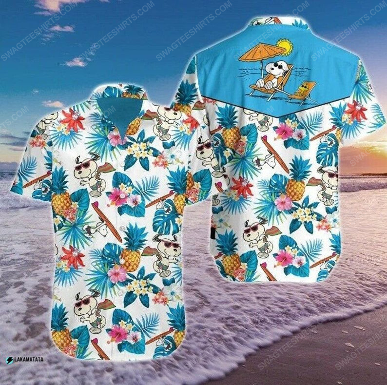 Tropical snoopy cartoon movie disney hawaiian shirt 1
