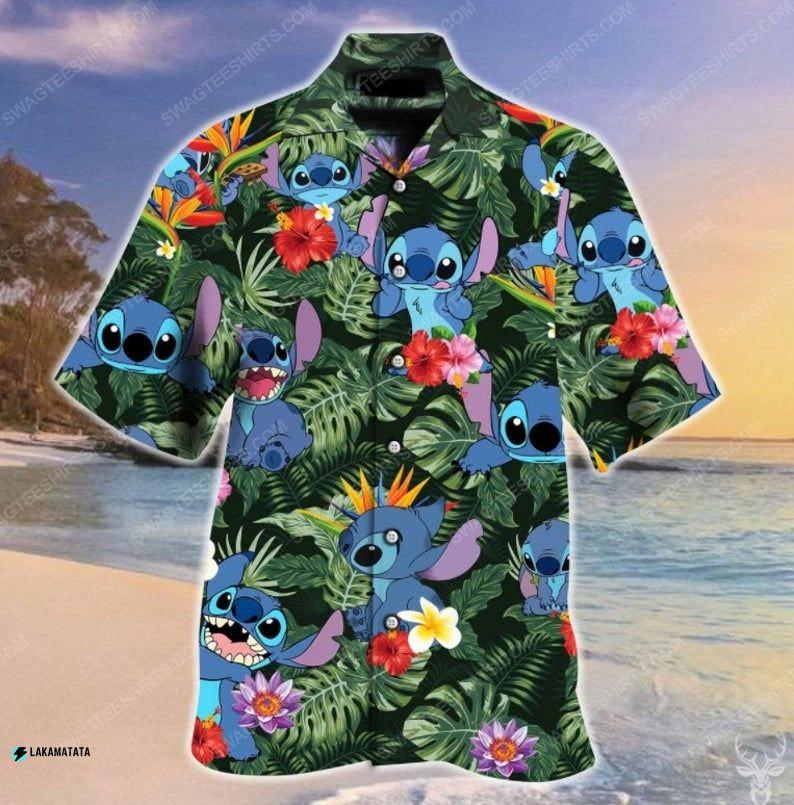 Tropical stitch cartoon movie disney hawaiian shirt 1