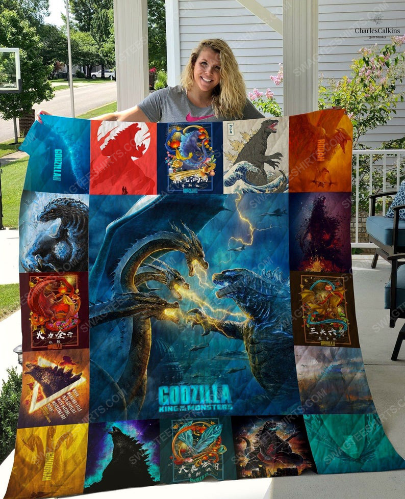 Vintage godzilla king of the monsters full printing quilt 1