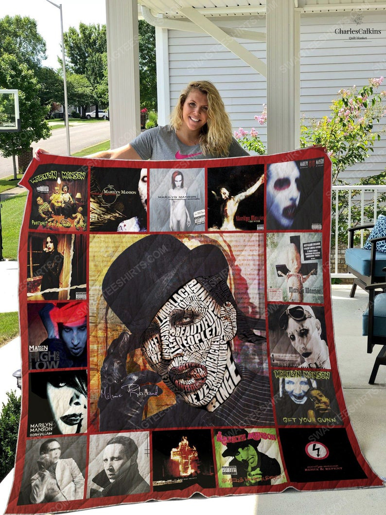 Vintage marilyn manson albums cover full printing quilt 1
