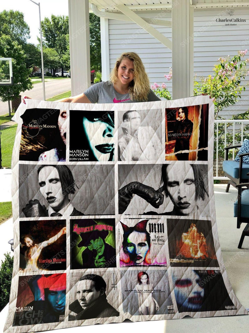 Vintage marilyn manson albums cover rock band full printing quilt 1
